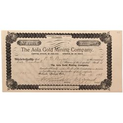 Aola Gold Mining Company Stock Certificate