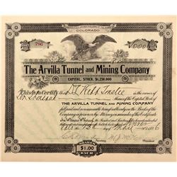 Arvilla Tunnel and Mining Company Stock Certificate