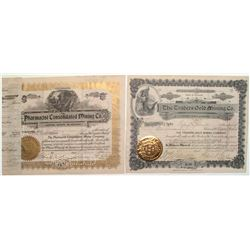 Cripple Creek District Stock Certificates: Traders Gold Mining & Pharmacist Consolidated Mining