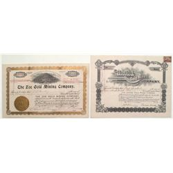 Cripple Creek Pair of Stock Certificates: United Gold Mines & Zoe Gold Mining