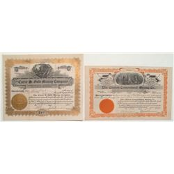 Cripple Creek Stock Certificate Pair: Carrie S. Gold Mining and Clinton Consolidated Mining Co., inc