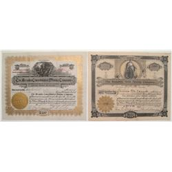 Cripple Creek Stock Certificate Pair: Arcadia Cons. & Republic Gold MC