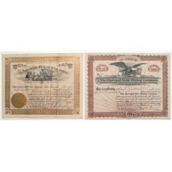Cripple Creek Stock Certificates:  Cleveland Gold Mining and Milling and Harvard Gold Mining