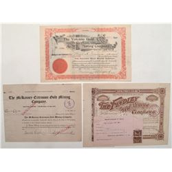 Cripple Creek Trio of Stock Certificates: Findlay, Volcano and McKinney Extension