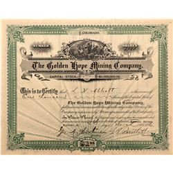 Golden Hope Mining Company Stock Certificate