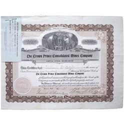 Crown Prince Mine stock certificate
