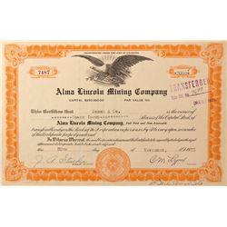 Alma Lincoln Mining Company Stock Certificate