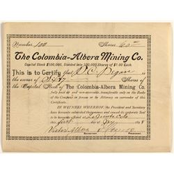 The Columbia-Albera Mining Co. stock certificate