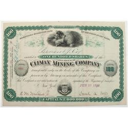 Climax Mining Company Stock Certificate