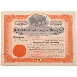 Bullard-Rand Mining Company Stock Certificate