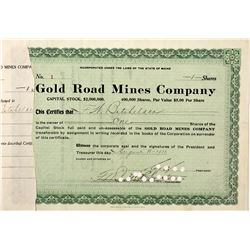 Gold Road Mines Company Stock Certificate
