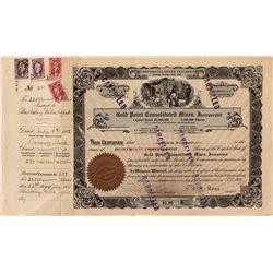 Gold Point Consolidated Mines Stock Certificate with revenue stamps