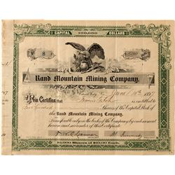 Rand Mountain Mining Company Stock Certificate