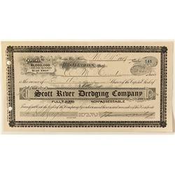 Scott River Dredging Co. Stock Certificate