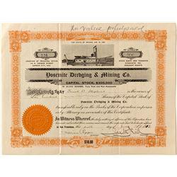 Yosemite Dredging & Mining Co. Stock Certificate