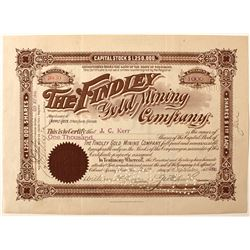 The Findley Gold Mining Company Stock Certificate
