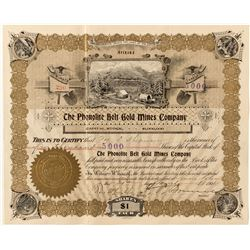 The Phonolite Belt Gold Mines Co. Stock Certificate