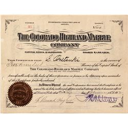 Colorado Highland Marble Co. Stock Certificate