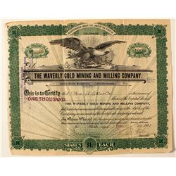 Waverly Gold Mining and Milling Company Stock Certificate