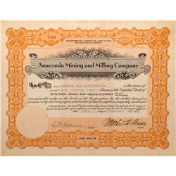 Anaconda Mining and Milling Company Stock Certificate