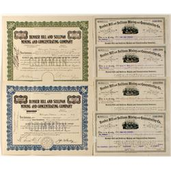 Lot of 6: Bunker Hill & Sullivan Mining and Concentrating Co Stock Certificates