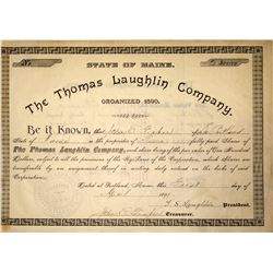Thomas Laughlin Company Stock Certificate, 1899
