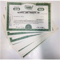 Allstate Lawn Products Stock Certificates: lot of 48