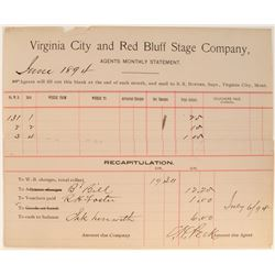 Virginia City and Red Bluff Stage Company Agents Statement