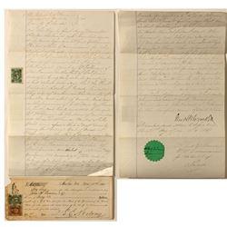 Green 5c Nevada document stamps on 1860's Nevada Ephemera