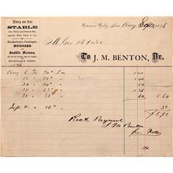 J. M. Benton Livery Stable billhead