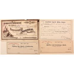 Consolidated Imperial check and stock / Justice Silver Mining and Pless Dredging checks