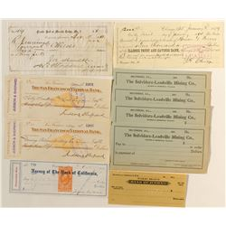 Bank  Checks Collection: lot of 9 (incl. James Fair in Virginia City)