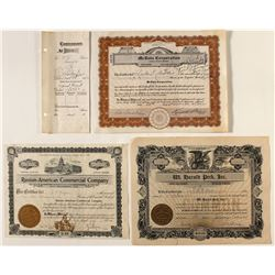 Lot of 3 Stock Certificates