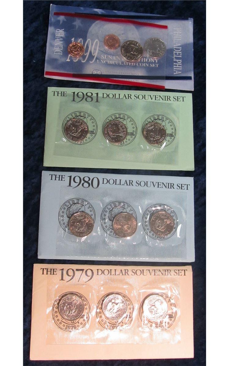 1458  Susan B  Anthony bonanza – 1979, 1980 & 1981 PDS Souvenir Sets & the  1999 P&D Uncirculated