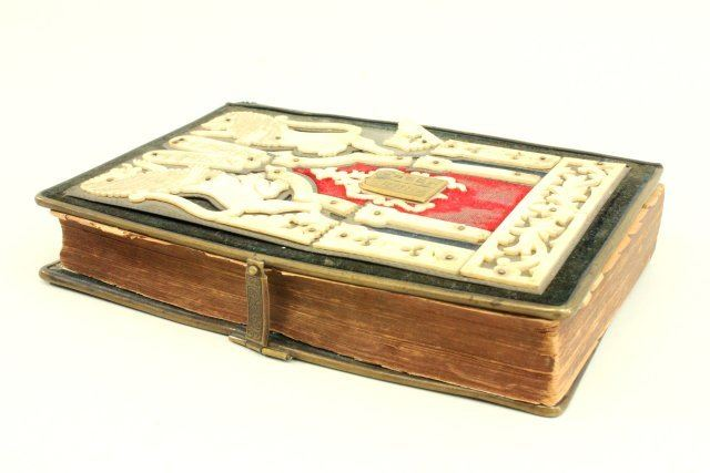 Jewish daily prayer book with carved bone cover
