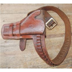 border tooled double loop holster