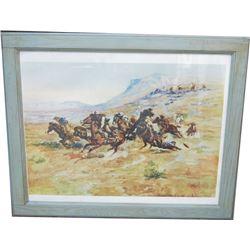 framed C Russel print
