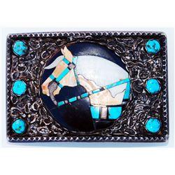 early Zuni  made horse head belt buckle