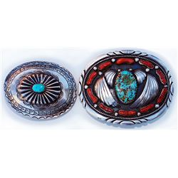 2 old pawn Navajo silver & turquoise belt buckles