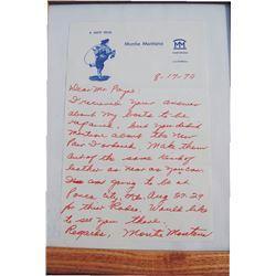 1970 hand written Montie Montana letter