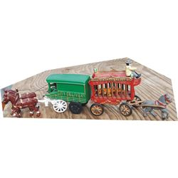 2 cast iron toy horse drawn vehicles