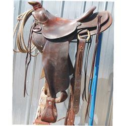 Gene Williams using saddle.  Used lots on the Boston Cattle Co.