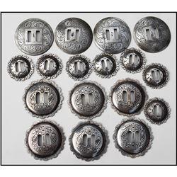 17 old conchos marked sterling.  All have Bohlin flavor
