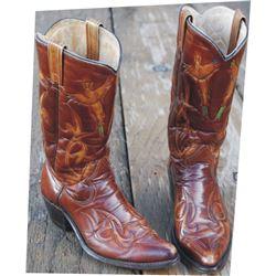 Texas custom made pheasant pattern boots