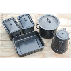 5 pieces of enamel cowboy cookware