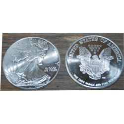 20 coins, each are 1 troy ounce of silver