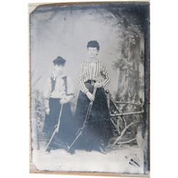 1880's original tin type (not reproduction), probably mother and child