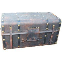 Circa 1860 Asa Shinn Mercer spotted leather covered trunk