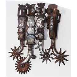 4 Buermann and Calif silver inlaid single spurs