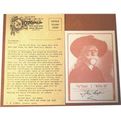 101 Ranch letter head show promo and care w/Tex Copper